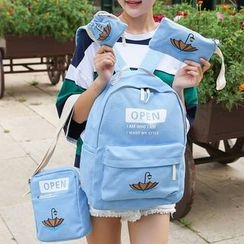 Sweet City - Set: Umbrella Print Backpack + Cross Bag + Pouch + Drawstring Pouch