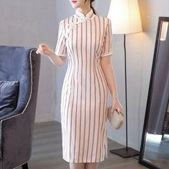 Miss Four Qipao - 中袖条纹旗袍