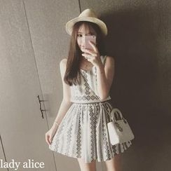 QZ Lady - Set: Embroidered Sleeveless Top + A-Line Skirt