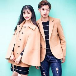 Igsoo - Couple Matching Blazer / Cape Jacket