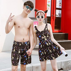 Little Dolphin - Couple Matching Giraffe Print Cutout Swimdress / Swim Shorts