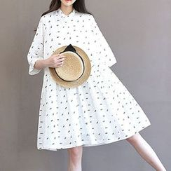 chome - Printed Stand Collar A-Line Dress