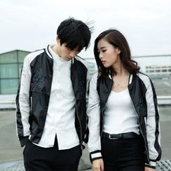 Evolu Fashion - Couple Matching Floral Embroidered Bomber Jacket