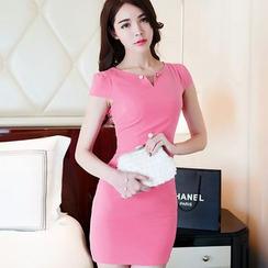 Aurora - Short-Sleeve Beaded Dress