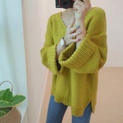 STYLEBYYAM - V-Neck Loose-Fit Knit Top