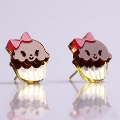 Sweet & Co. - Miss Cupcake Chocolate Stud Gold Earrings