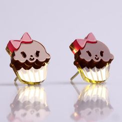 Sweet & Co. - Miss Cupcake Chocolate Stud Gold Earrings