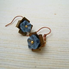 MyLittleThing - Copper Glass Flowers Earrings(Blue)