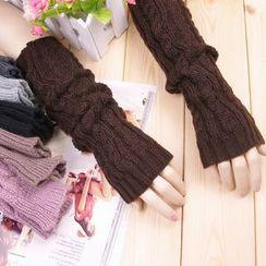 Azuki - Fingerless Cable-Knit Gloves