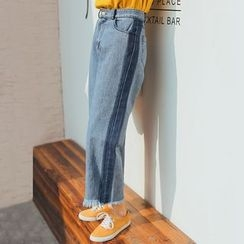 MIKPO - Fringed Wide Leg Jeans