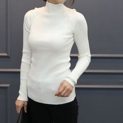 DANI LOVE - Mock-Neck Rib-Knit Top