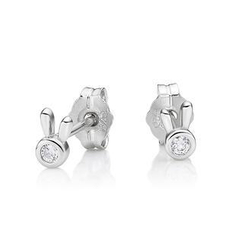 Kenny & co. - 925 Silver Rabbit Head with Crystal Earring in RH. Plated