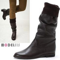 MODELSIS - Genuine Leather Inset Warmer Boots