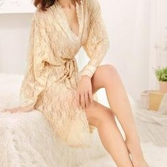 媚姬 - 腰結帶蕾絲睡袍
