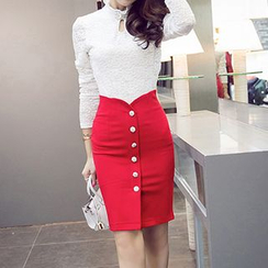 Flore - Buttoned Pencil Skirt