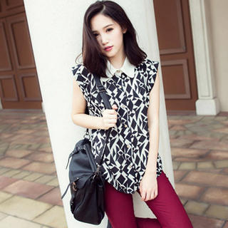 Tokyo Fashion - Contrast-Collar Patterned Shirt