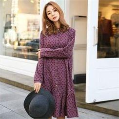 clicknme - Ruffle-Hem Flower Pattern Cotton Shirtdress