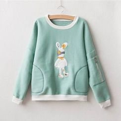 Wimi girls - Rabbit Applique Tipped Pullover