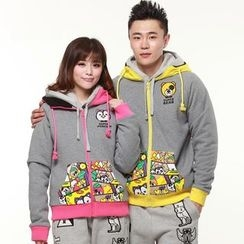 HappyTee - Printed Panel Couple Hooded Jacket