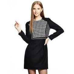 O.SA - Mock Two-Piece Houndstooth Dress