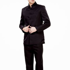 Willow Tree - Set : Plain Stand-collar Jacket + Pants