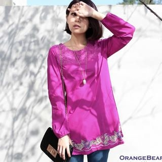 OrangeBear - Long-Sleeve Lace-Panel Embroidered Tunic