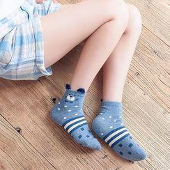 Socka - Pair of 3: Ear-Accent Animal-Print Socks