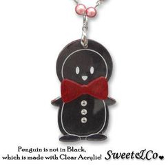 Sweet & Co. - Bowtie Penguin with Red Pearl Silver Long Necklace