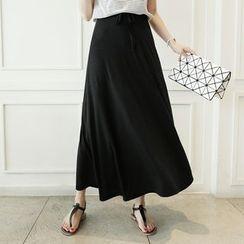 CLICK - Drawstring-Waist Flare Maxi Skirt