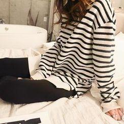 NANING9 - Brushed-Fleece Stripe Sweatshirt