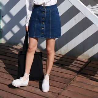 MISS YOYO - Buttoned Denim Skirt