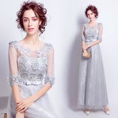 Angel Bridal - Elbow-Sleeve Applique Evening Gown
