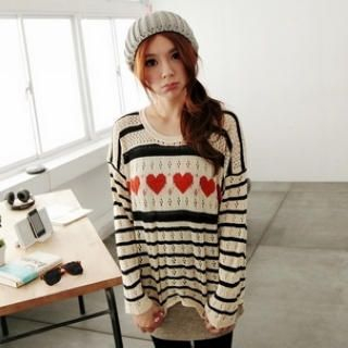 BAIMOMO - Dip-Back Heart-Pattern Knit Top