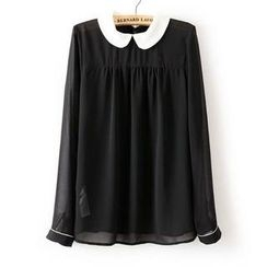 JVL - Long-Sleeve Contrast-Collar Chiffon Blouse
