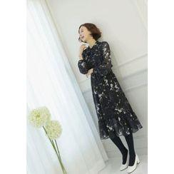 Lemite - Tie-Neck Gathered-Waist Pattern long Dress