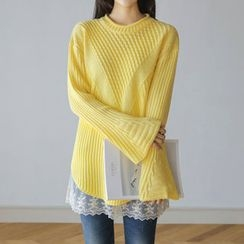 JUSTONE - Bell-Sleeve Long Waffle-Knit Top