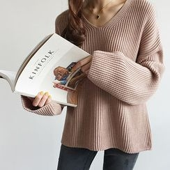 STYLEBYYAM - V-Neck Drop-Shoulder Knit Top
