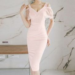 Aurora - Cutout-Shouler Lace Sheath Dress