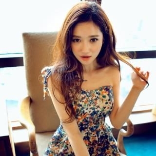 chuu - One Shoulder Floral-Print Mini Dress
