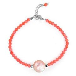MBLife.com - Left Right Accessory - Round Shape 2-Side White & Pink Mother of Pearl Pink Coral Bracelet (6.5')