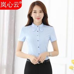 Skyheart - 套装: 细条纹短袖衬衫 + 西裤 / 短裙