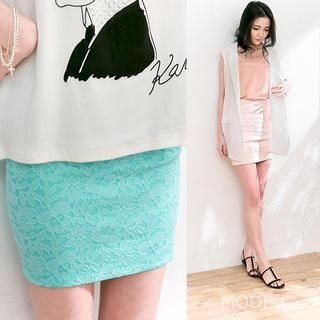 MODE C. - Lace Pencil Skirt