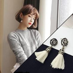 Taimi - Rhinestone Tasseled Drop Earrings