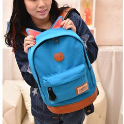 Miss Sweety - Ear-Accent Appliqué Canvas Backpack