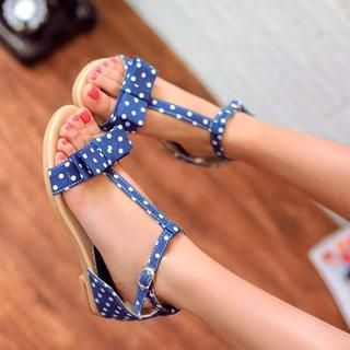77Queen - Bow-Accent T-Strap Dotted Sandals