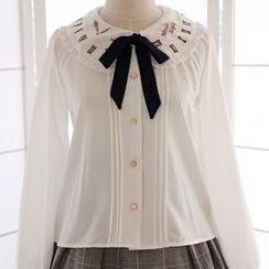 Reine - 可拆蝴蝶結刺繡雪紡襯衫