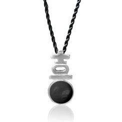 ZN Concept - Black Agate Pendant with Silk Cord