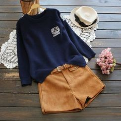 YOYO - Long-Sleeve Embroidered Knit Top