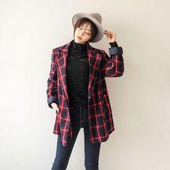 Seoul Fashion - Double-Breasted Plaid Jacket