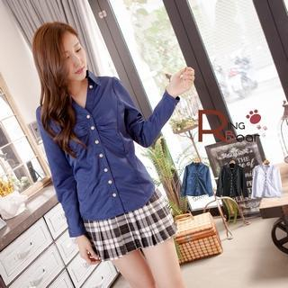 RingBear - Long-Sleeve Ruched Blouse